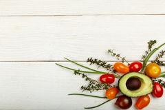 Healthy food background. Studio photography of different vegetables on old wooden table Royalty Free Stock Photos