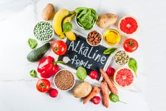 Alkaline diet ingredients. Healthy food background, trendy Alkaline diet products - fruits, vegetables, cereals, nuts. oils, white marble background top view Royalty Free Stock Photo