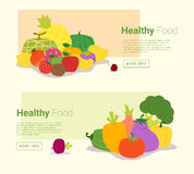 Healthy food banner with fruits and vegetables Royalty Free Stock Image