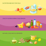 Healthy Food Banner Set. With nutrition and diet for cold eating during cold season natural flu remedies isolated vector illustration Stock Photography