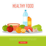 Healthy Food Banner  on White Background. Royalty Free Stock Photography