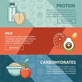 Fitness food and sports healthy diet nutrition products supplements vector flat poster. Healthy food banners of protein dietary supplement pills, organic oil and Stock Photos