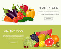Healthy food  banners set Stock Photo