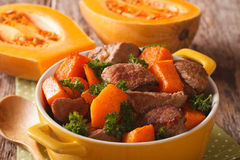 Healthy food: Beef stew with pumpkin and spices close up. horizo Royalty Free Stock Images