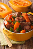 Healthy food: Beef stew with pumpkin and spices close up. Vertic Royalty Free Stock Photography