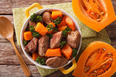 Healthy food: Beef stew with pumpkin and spices closeup. Horizon Royalty Free Stock Photos