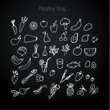Healthy food on black Royalty Free Stock Photo