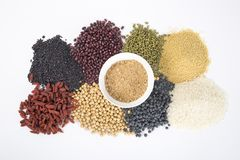 Healthy food. Black rice ,rice, millet, beans, goji wolfberry, and grind up those to make some kind of healthy food flour. It is a popular food in China, and Royalty Free Stock Photos