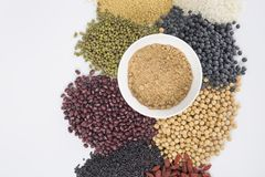 Healthy food. Black rice ,rice, millet, beans, goji wolfberry, and grind up those to make some kind of healthy food flour. It is a popular food in China, and Stock Photography