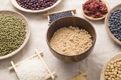 Healthy food. Black rice ,rice, millet, beans, goji wolfberry, and grind up those to make some kind of healthy food flour. It is a popular food in China, and stock image