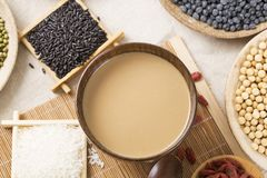 Healthy food. Black rice ,rice, millet, beans, goji wolfberry, and grind up those to make some kind of healthy food flour. It is a popular food in China, and Stock Photo