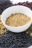 Healthy food. Black rice ,rice, millet, beans, goji wolfberry, and grind up those to make some kind of healthy food flour. It is a popular food in China, and royalty free stock image
