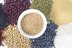 Healthy food. Black rice ,rice, millet, beans, goji wolfberry, and grind up those to make some kind of healthy food flour. It is a popular food in China, and Royalty Free Stock Photo