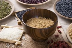 Healthy food. Black rice ,rice, millet, beans, goji wolfberry, and grind up those to make some kind of healthy food flour. It is a popular food in China, and Royalty Free Stock Photography