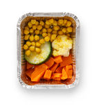 Healthy food in boxes, diet concept. Corn, pumpkin, zuccini, cauliflower Royalty Free Stock Images