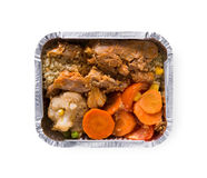 Healthy food in boxes, diet concept. Meat, rice, carrot, corn and cauliflower Royalty Free Stock Photo