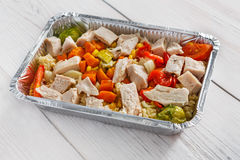 Healthy food in boxes, diet concept. Royalty Free Stock Images