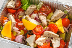 Healthy food in boxes, diet concept. Steamed turkey with vegetables Stock Photography