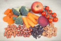 Healthy food for brain power and good memory, nutritious eating containing natural minerals stock photography
