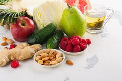 Healthy food for burning fat. Healthy eating or diet concept. Space for text royalty free stock photo