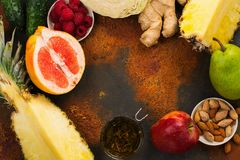 Healthy food for burning fat. Healthy eating or diet concept. Space for text royalty free stock images