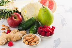 Healthy food for burning fat. Healthy eating or diet concept. Space for text stock image