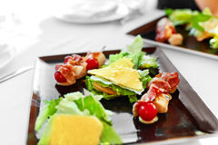 Healthy Food. Caesar Salad On Plate In Restaurant. Meal, Diet Royalty Free Stock Photos