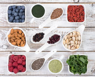 Healthy food called super foods wooden background Stock Photo