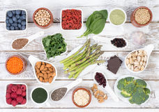 Healthy food called super foods on wooden background Stock Image