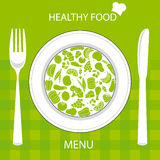 Healthy food card. Restaurant menu card. Plate with healthy food Stock Photo