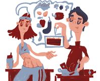 Healthy food. Cartoon person. He and she royalty free illustration