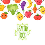 Healthy food cartoon representing. Some funny vegetables Royalty Free Stock Image
