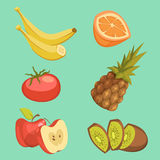 Healthy Food Cartoon Set Stock Images