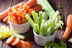 Healthy food - celery and carrot royalty free stock photography