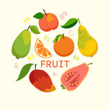 Healthy food, cellulose, vitamins. Healthy food, fruits. Vector illustration Royalty Free Stock Photos