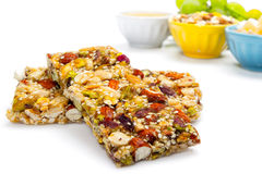 Healthy food. Cereal bars, grapes, honey as a healthy food Royalty Free Stock Photo