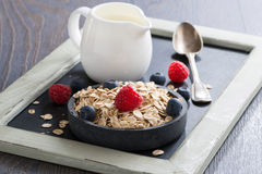 Healthy food - cereal, fresh berries and jug of milk. Horizontal Stock Image