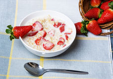 Healthy food - cereal with strawberries Royalty Free Stock Photography