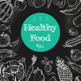 Healthy food chalkboard background Royalty Free Stock Photo