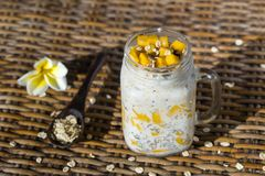 Healthy food, chia seed pudding with mango, oat flakes, coconut milk and muesli, vitamin breakfast in glass mug. Morning in Thaila Stock Image