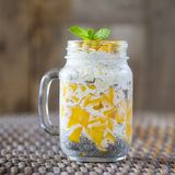 Healthy food, chia seed pudding with mango, oat flakes, coconut milk and muesli, vitamin breakfast in glass mug. Morning in Thaila Royalty Free Stock Photos