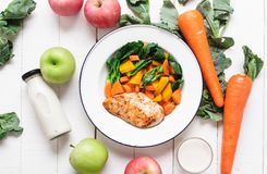 Healthy food chicken breast and vegetables White wood background Royalty Free Stock Photo