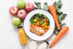 Healthy food chicken breast and vegetables White wood background Royalty Free Stock Photos