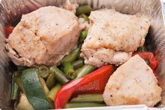 Healthy food - chicken and vegetables closeup Royalty Free Stock Image