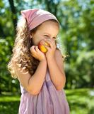 Healthy Food - Child With Apple Stock Photos