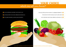 Healthy food choice poster template. Stock Image