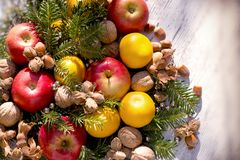 Healthy food for Christmas holiday - Christmas night. Healthy organic food for Christmas holiday - Christmas night Royalty Free Stock Image