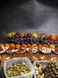 Healthy food clean eating selection: fruits,, superfood, nuts on gray concrete background stock image