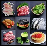 Collage healthy food on black backgrounds. royalty free stock photos