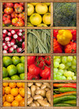 Healthy food collection. Composition of fruit and vegetables framed in wood Stock Image